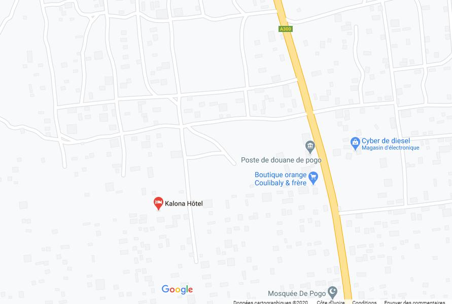 Localisation Kalona Hôtel